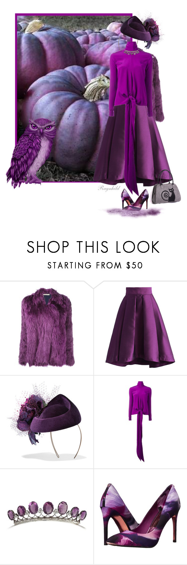 """""""Plum Color"""" by ragnh-mjos ❤ liked on Polyvore featuring Balenciaga, Chicwish, Philip Treacy, Victoria Beckham and Ted Baker"""