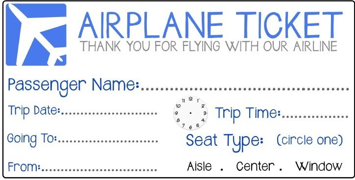 pretend airplane ticket - Google Search | Fun for my ...