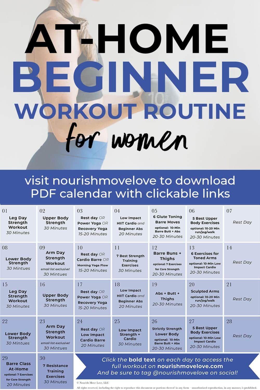 30-Day Beginner Workout Plan (w/ YouTube Videos) | Nourish Move Love