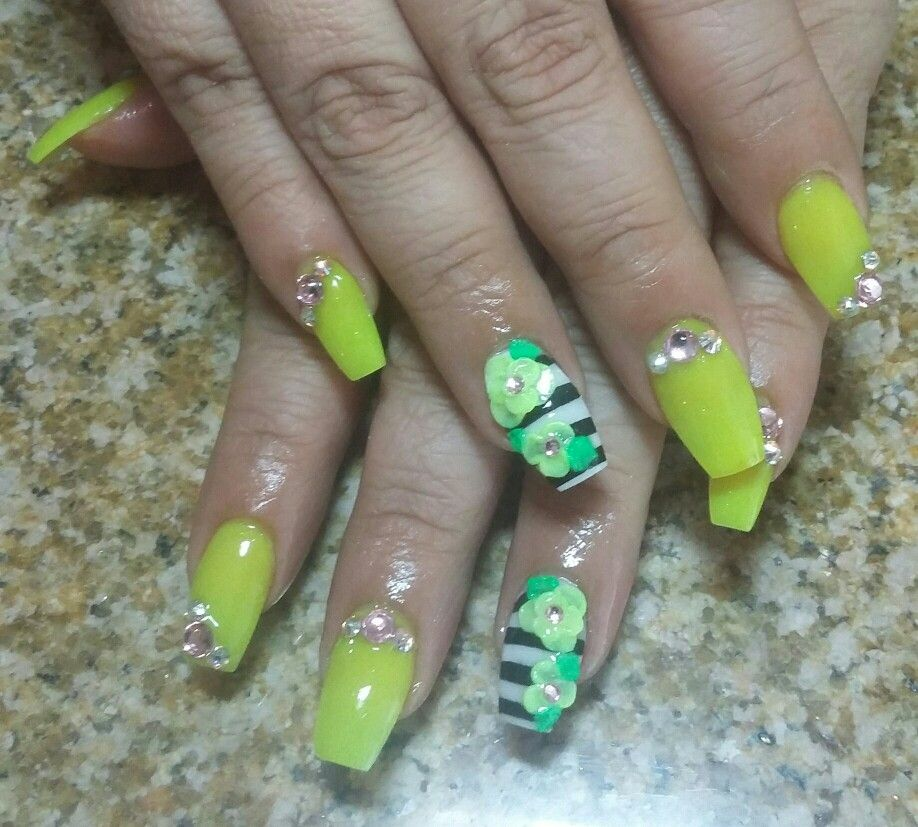 Coffin nails yellow nails with 3d flowers summer nails