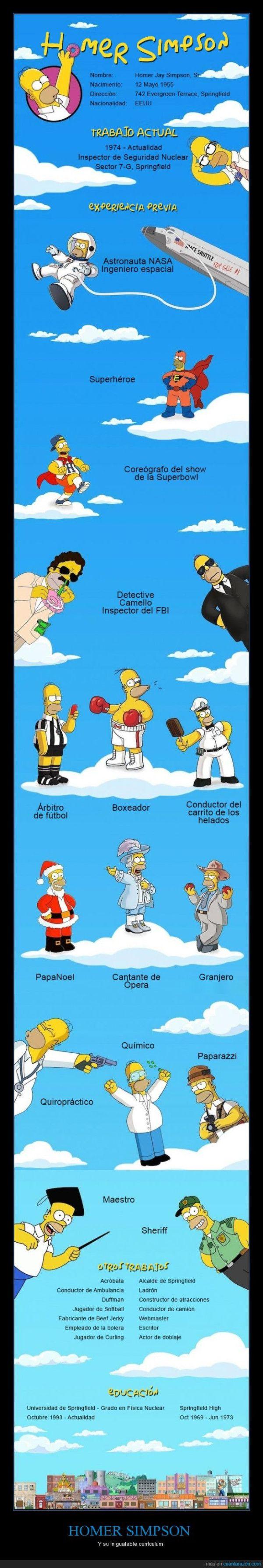 Currículum De Homer Simpson Homero Simpson Imágenes De Los Simpson Personajes De Los Simpsons