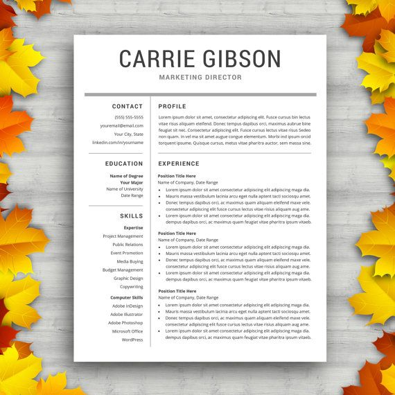 Professional Resume Template Instant Download Professional CV - modern word templates