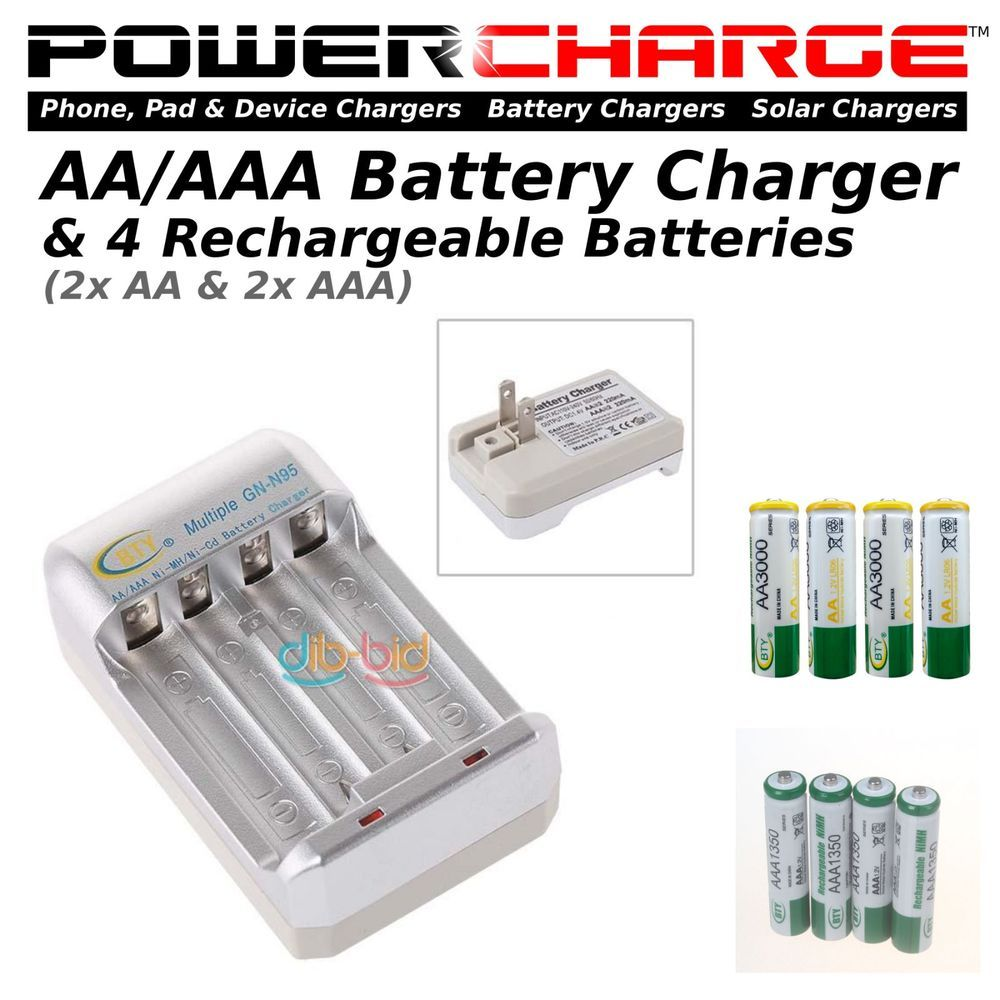 Powercharge Batterycharger Kit 2x Aa 2x Aaa Ni Mh Batteries Ac 110v 240v Shadowblaster With Images Phone Battery Charger Ebay Batteries