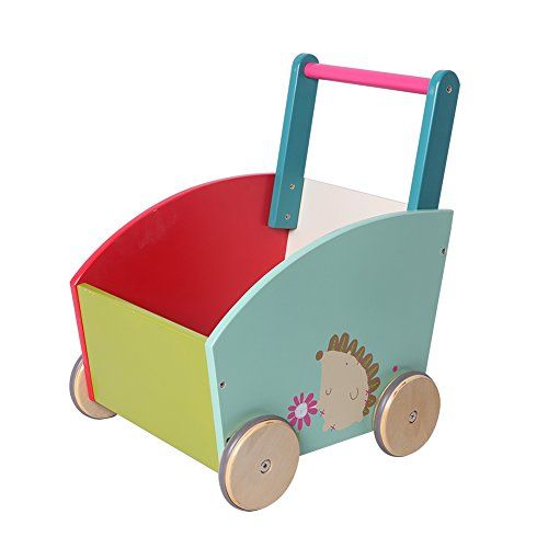 Labebe Diy Kids Toy Box Storage Baby Walker With Wheels Hedgehog Wooden Push Toys Toddler Push Toys Kids Toy Boxes
