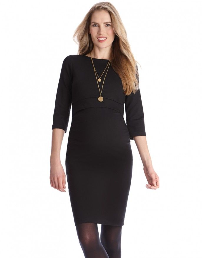 Navy Maternity & Nursing Dress