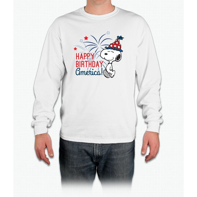 Snoopy - Happy B-day America Long Sleeve T-Shirt