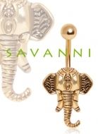 Gold-Plated Navel Ring Elephant. Gold-plated navel piercing with elephant charm.