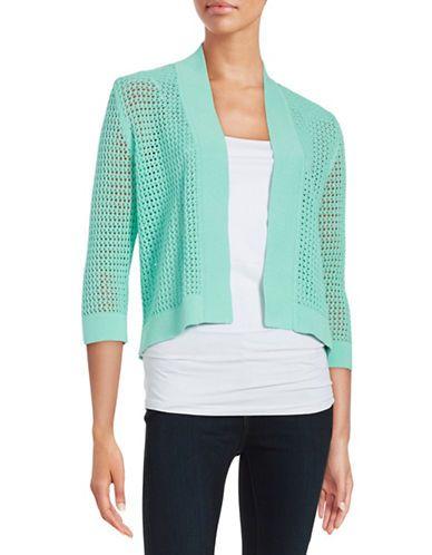 Nipon Boutique Plus Open-Knit Cardigan Women's Lucite Blue 3X
