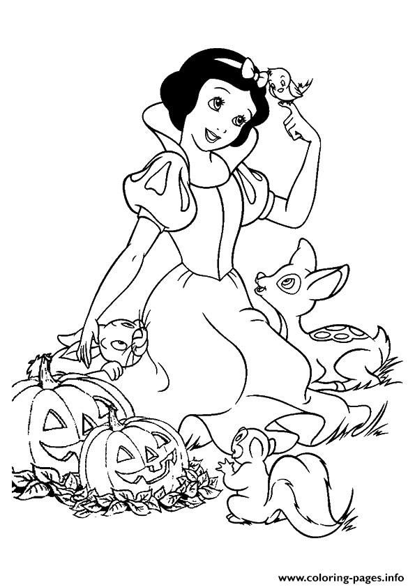 Print The Snow White And Pumpkins Disney Halloween Coloring Pages Snow White Coloring Pages Disney Princess Coloring Pages Princess Coloring Pages