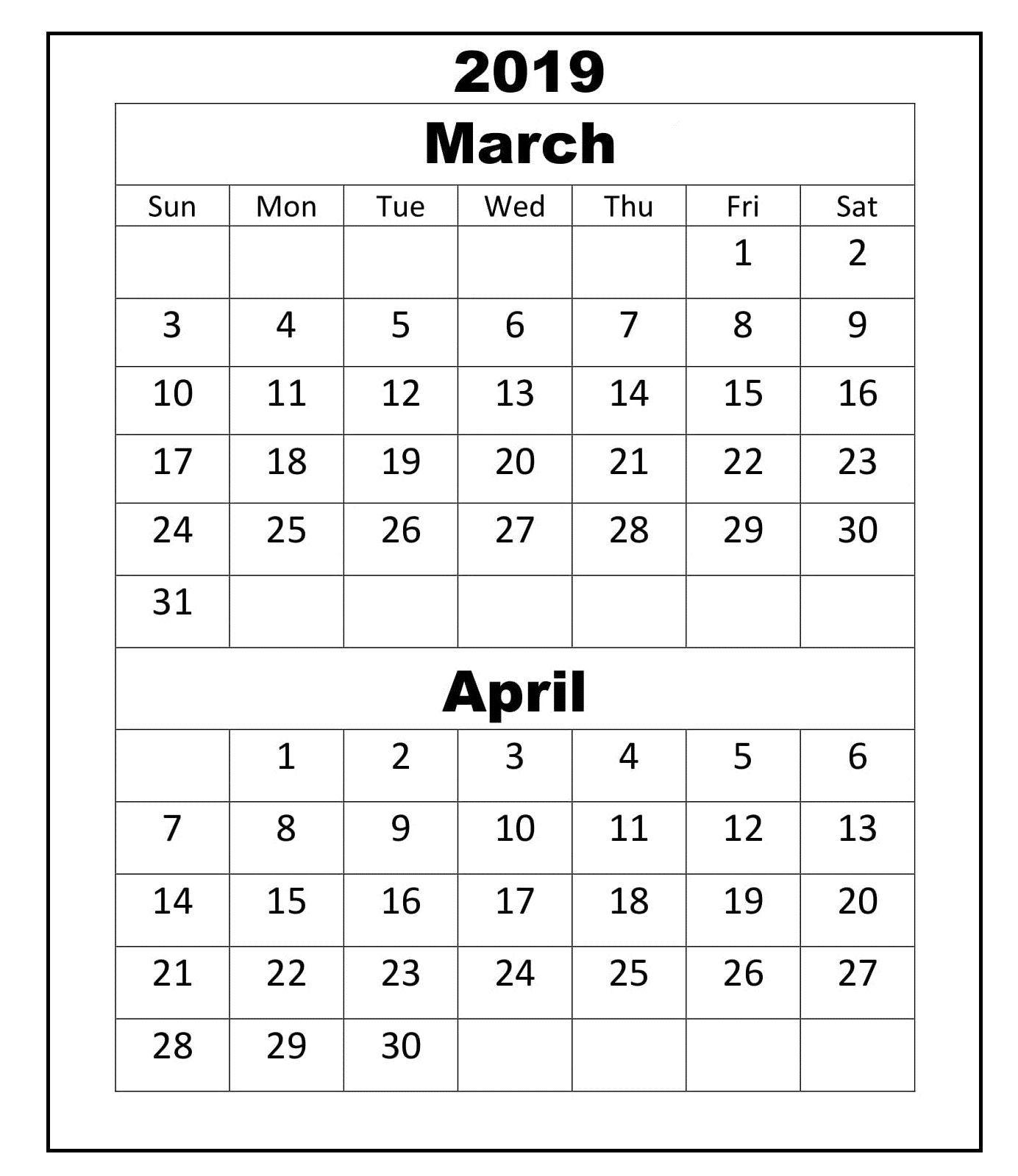 Blank March April 2019 Printable Calendar March2019calendar