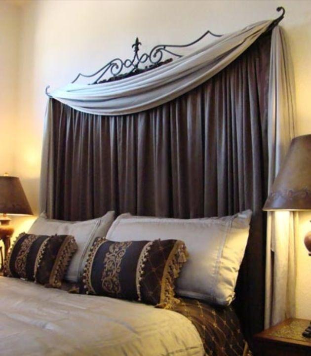 Use A Curtain Rod To Make A Headboard Home Decor Home Bedroom Home