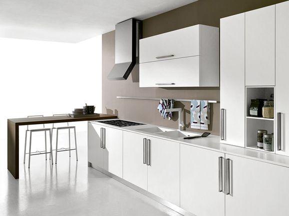 Cucina moderna bianco opaco con penisola rovere moro - Cucina bianco opaco ...