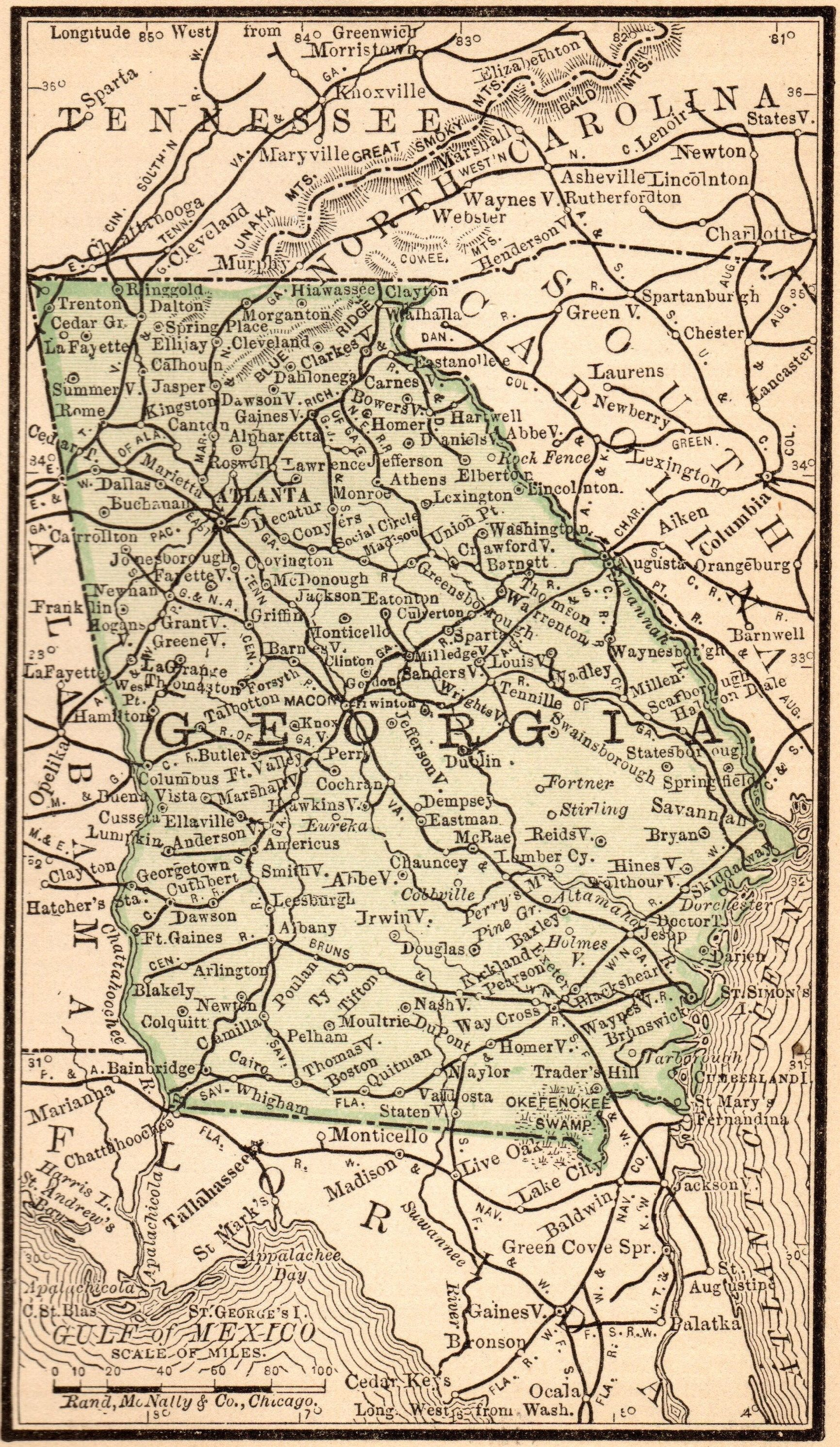 1888 Antique Georgia State Map Vintage Map Of Georgia Miniature