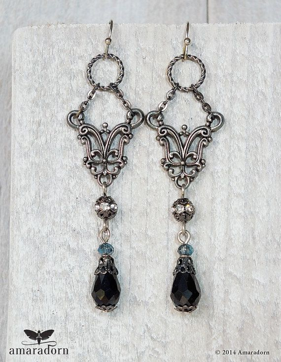 Neo Victorian Black Drop Earrings Dark Silver Filigree Gunmetal Long Gothic Goth Jewellery Uk Er