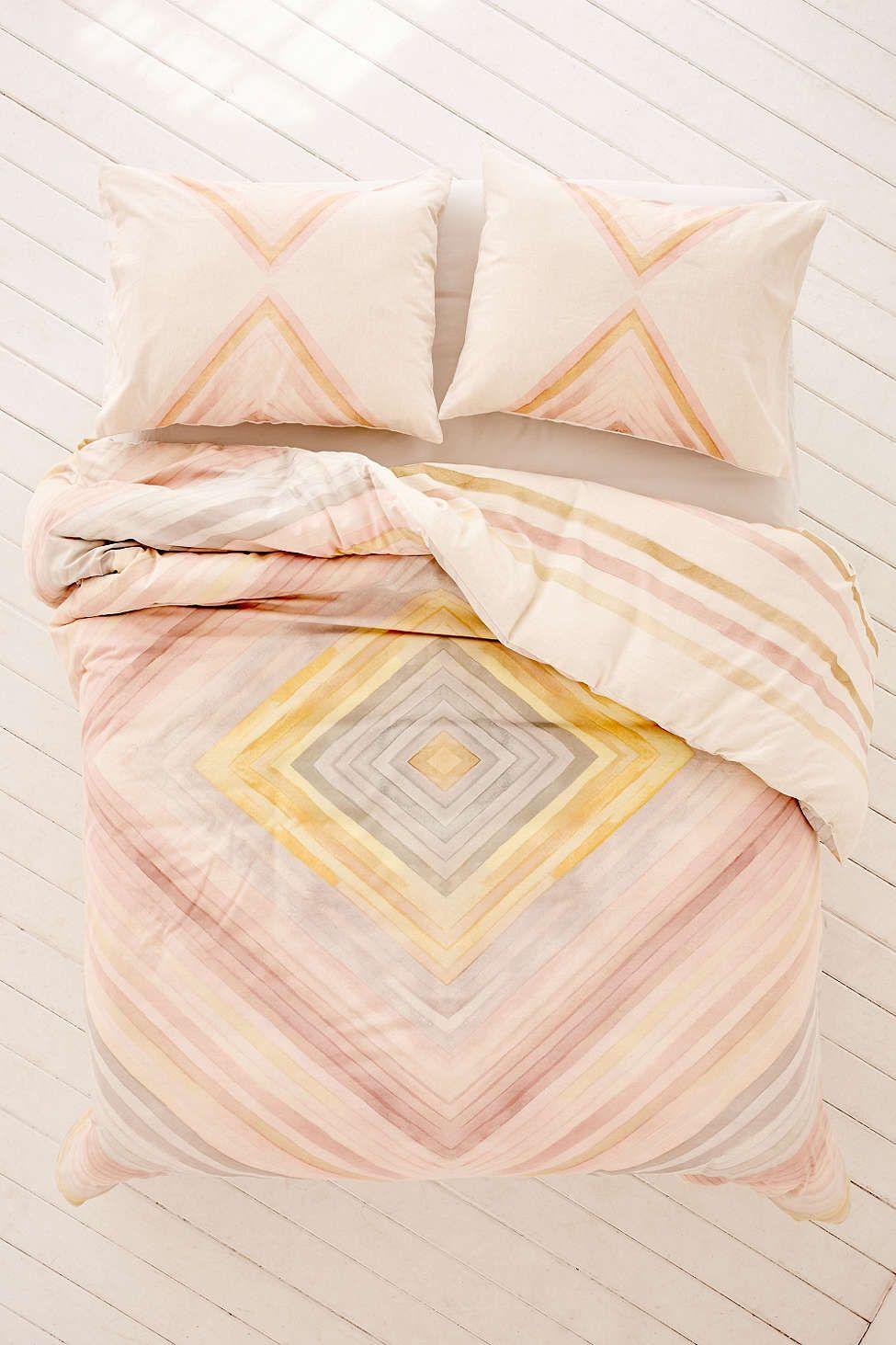 Hodad Reversible Watercolor Linen Blend Duvet Cover - Urban Outfitters