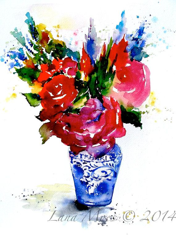 Peonies - Bouquet of flowers in a vase - original watercolor painting - wall art - wall decor - red flowers -Still Life Painting