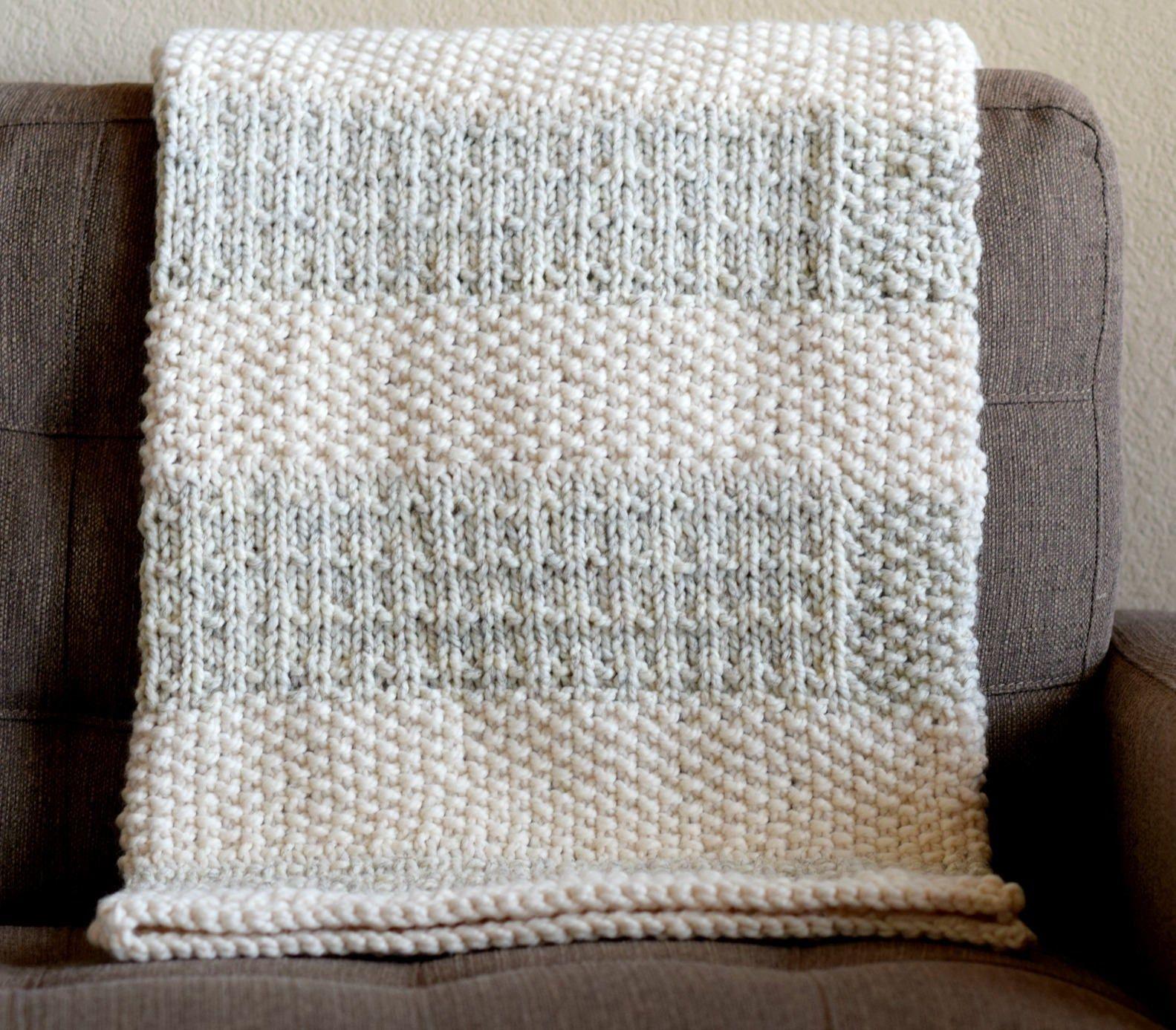 Easy Knit Blanket Pattern, Knit Throw Pattern, Easy ...