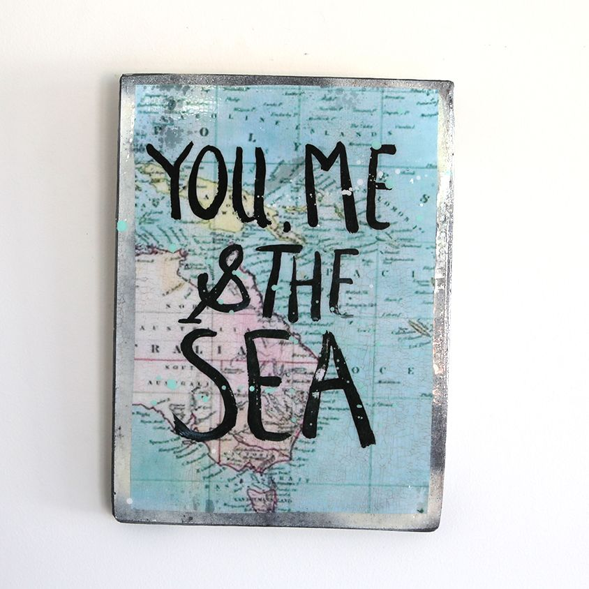 YOU ME & THE SEA A4 #3 — A H O Y T R A D E R 120.00 RUSTIC TILE MADE FROM MIXED MEDIUMS