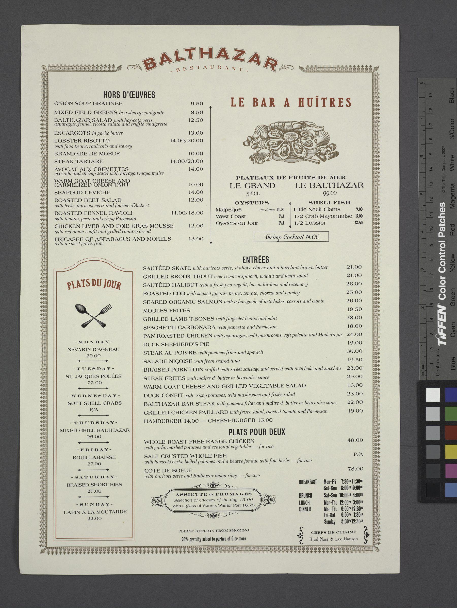 Balthazar Restaurant Menu | Food in History | Menu design