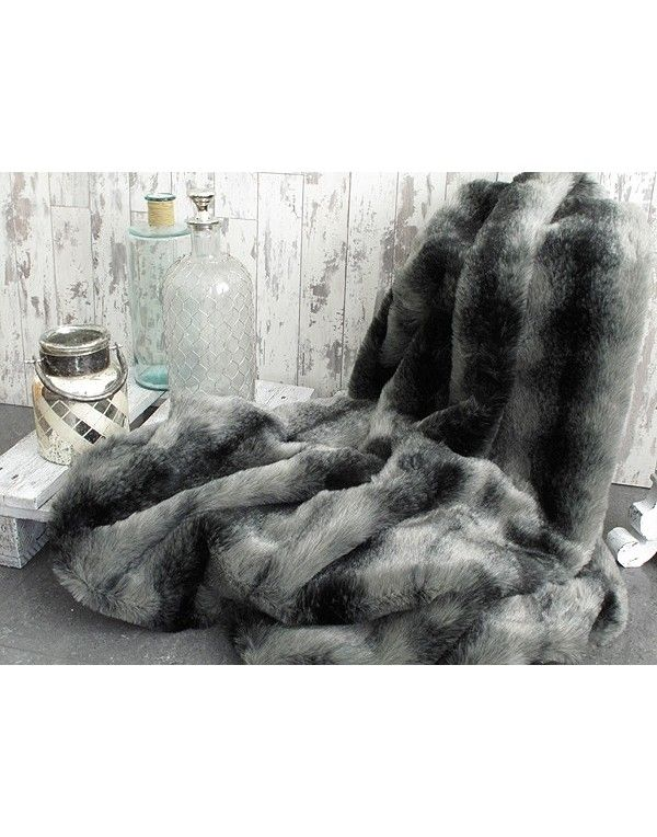 Black Wolf Faux Fur Throw Large Grey Blanket Bedspreads