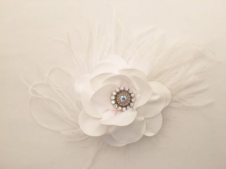 d467527535c4d Fancy White Flower Feather Fascinator Hair Clip. .Wedding