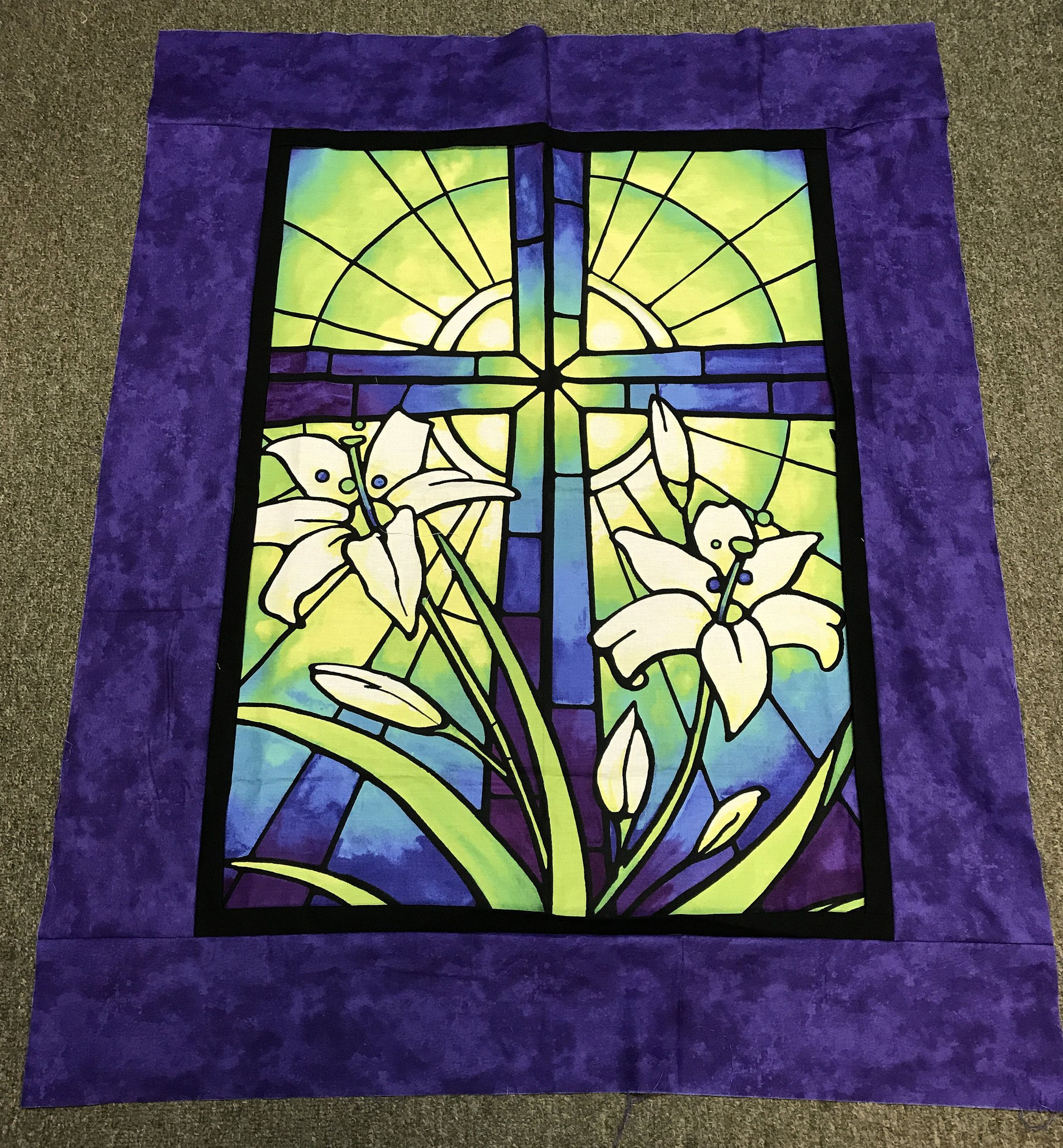 Stained Glass Easter Lily Rejoice Quilt Top Purple Includes Coordinating Backing Material By Almasueshop On Etsy Handmade Wall Hanging Quilts Cross Quilt