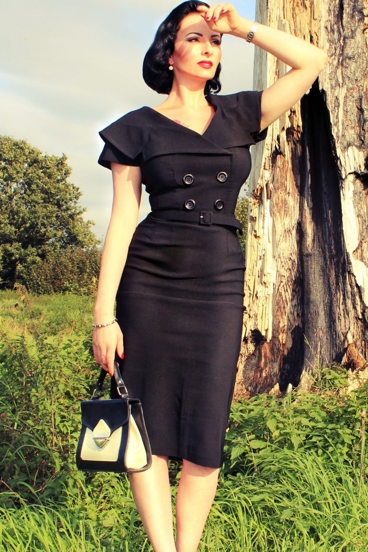 Tatyana Secretary 50s Retro Pencil Dress Black 50 Jahre Kleider 50er Jahre Outfit Kleidung