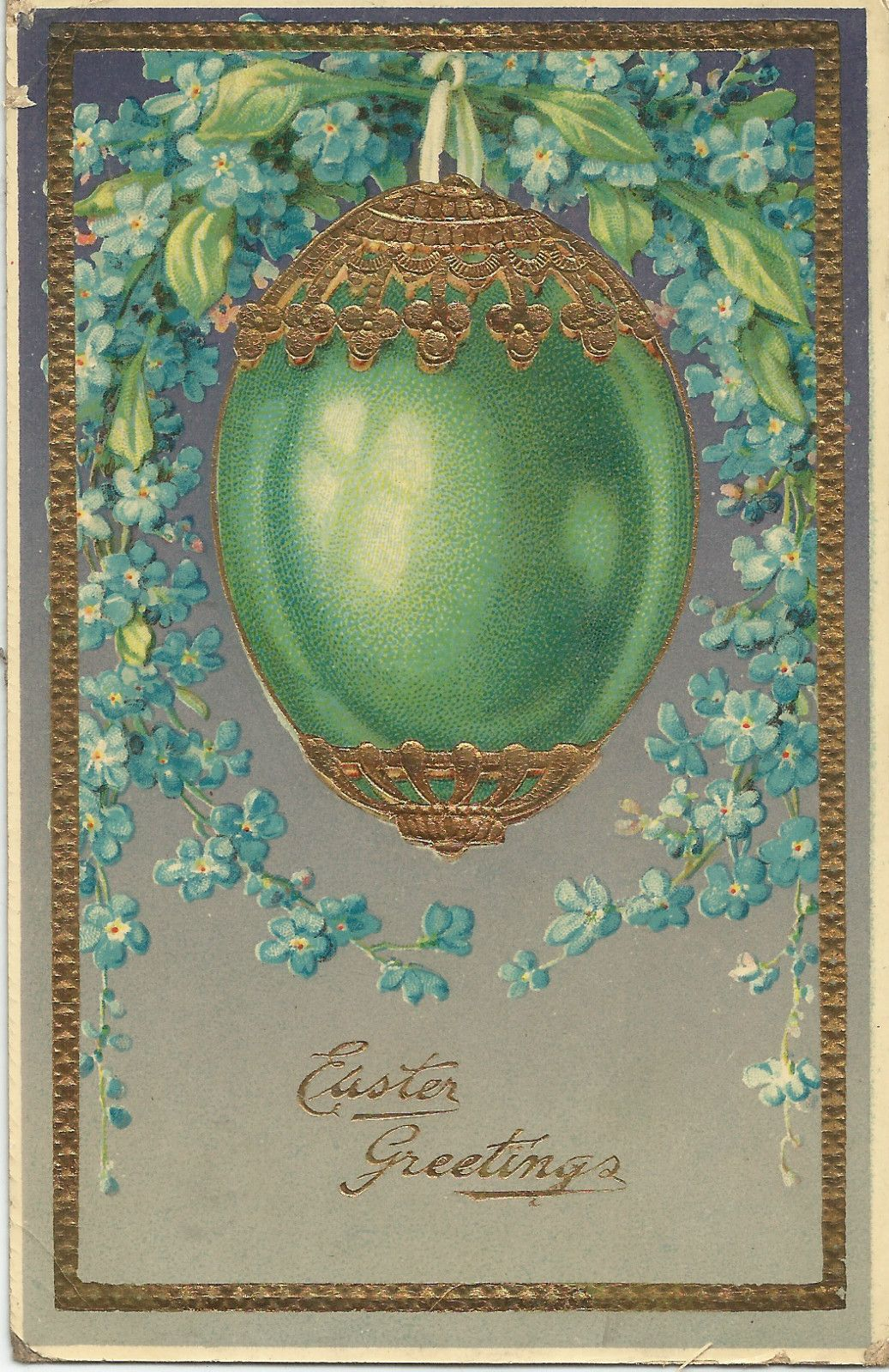 Easter Postcard - egg and flowers, pretty color Z