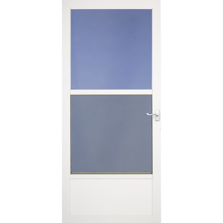 Front 189 00 Comfort Bilt Southport White Mid View Aluminum Self Storing Storm Door Common 30 In X 80 In Actual 29 75 In X Storm Door Aluminum Storm Doors