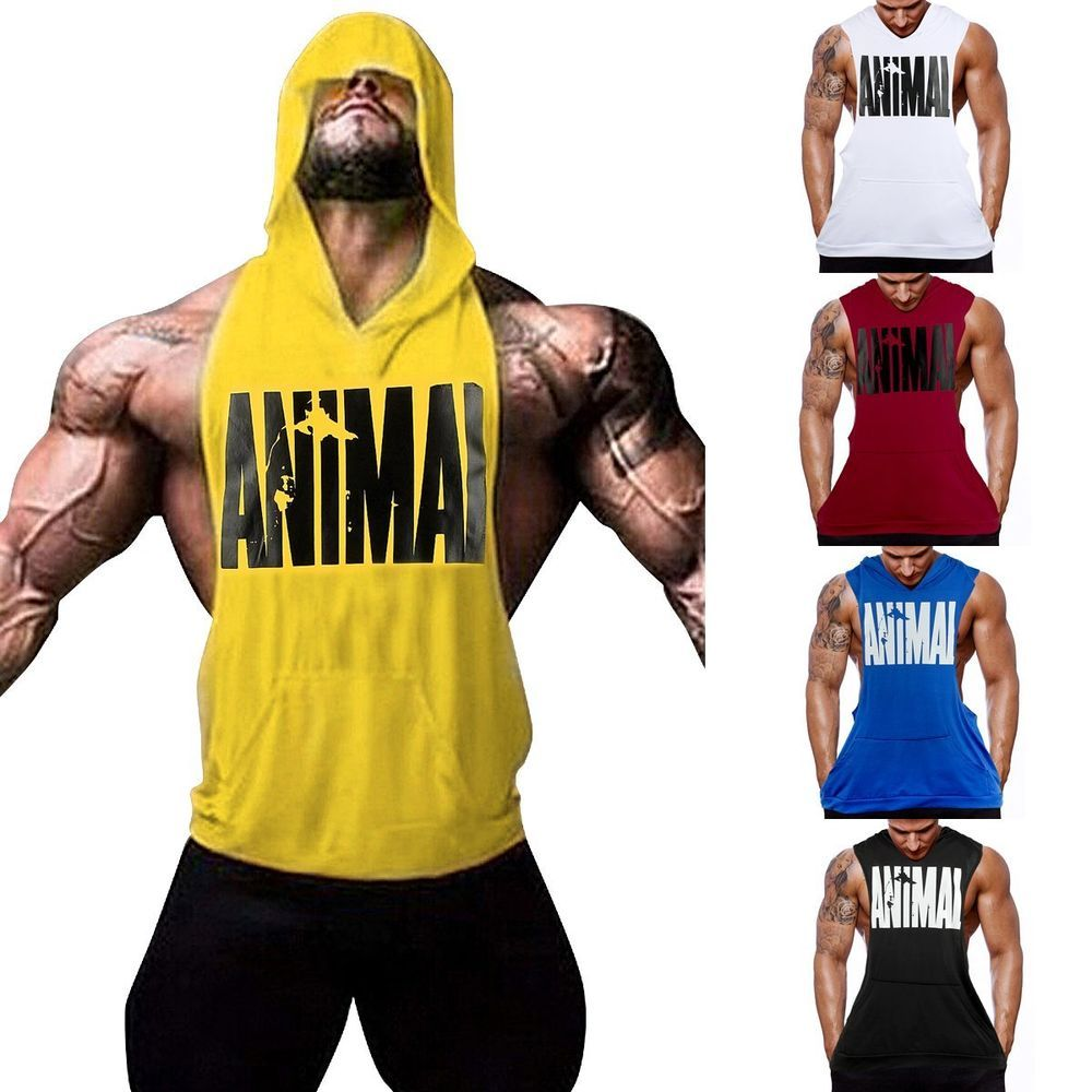 65399be20fa62 Hot Men Gym Clothing Bodybuilding Stringer Hoodie Tank Top Muscle hooded  Shirt
