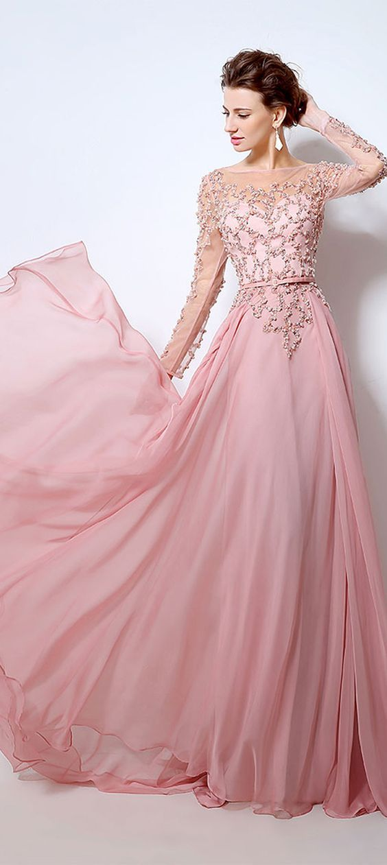 Dark pink long slevess Sheer Lace Flower prom dresses new style ...