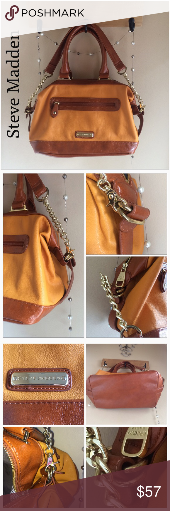 Steve Madden Hobo Bag Mustard and Brown Beautiful Mustard and Red-Brown bag. Carry handles and shoulder strap included. This bag has ton of room and is a great color for your fall and winter outfits!! Used once and has a tiny bit of tarnishing on the side hardware. I'm not sure why though Steve Madden Bags Hobos