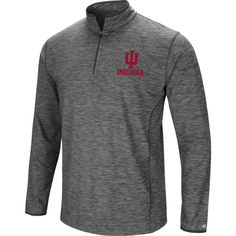 Colosseum Men s Indiana Hoosiers Grey Action Pass Quarter-Zip Shirt ... 84fe95fc733
