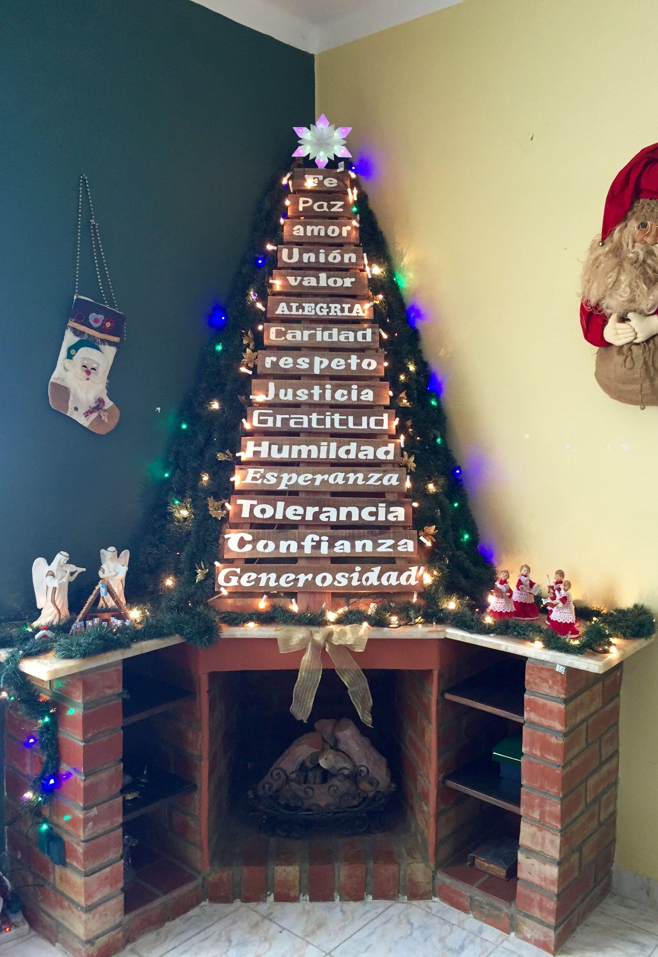 Navidad Chimenea Con Arbol Hecho En Madera Reciclada Arbol De Navidad Pared Decoraciones Rusticas De Navidad Decoraciones De Fiesta De Navidad