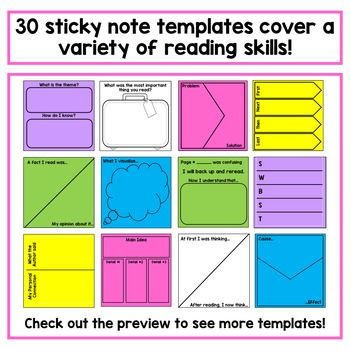 Reading Response Sticky Note Template Classroom Ideas Reading