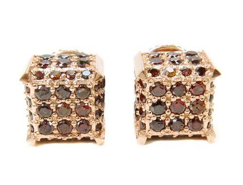 Red Diamond Studs In Rose Gold Men S Earrings Jewelry