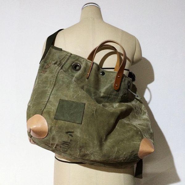 547258d18a Vintage US Army duffle bag remake shoulder bag IND BNP00076 W56cm H36cm  D19cm