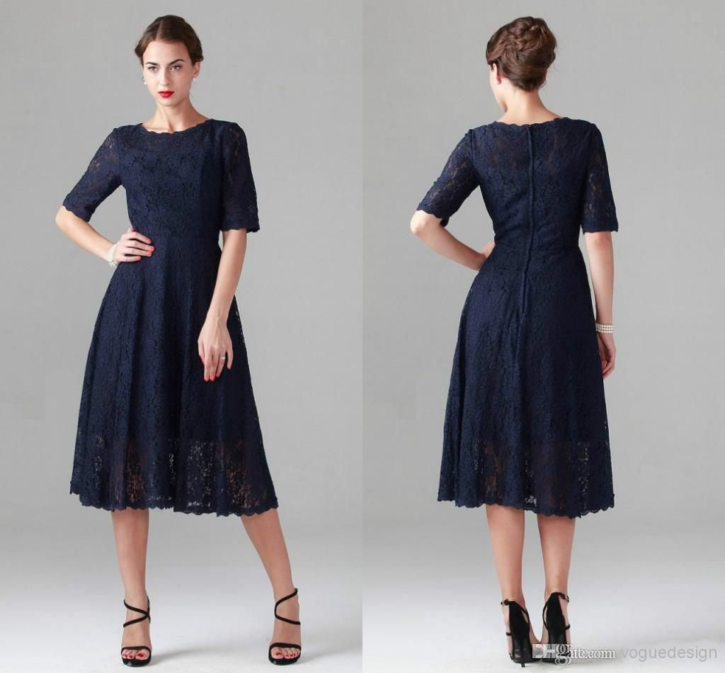 New Navy Blue Tea-length Lace Mother of the Bride Dresses Vintage ...