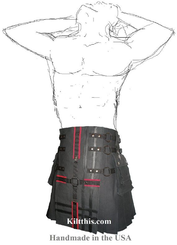 Black Utility Kilt Black Front Apron Black n Red Cross by KiltThis, $265.00