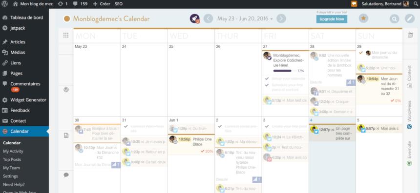 Coschedule: gérer blog et #réseauxsociaux dans un calendrier unifié.