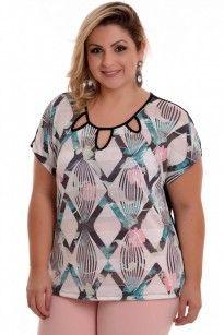 f4f501f3e4e9 Blusa Plus Size Rosa | Moda | Blusas de viscose, Blusas para gordas ...