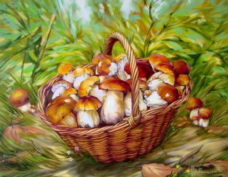 Корзинка с грибами картинка для детей
