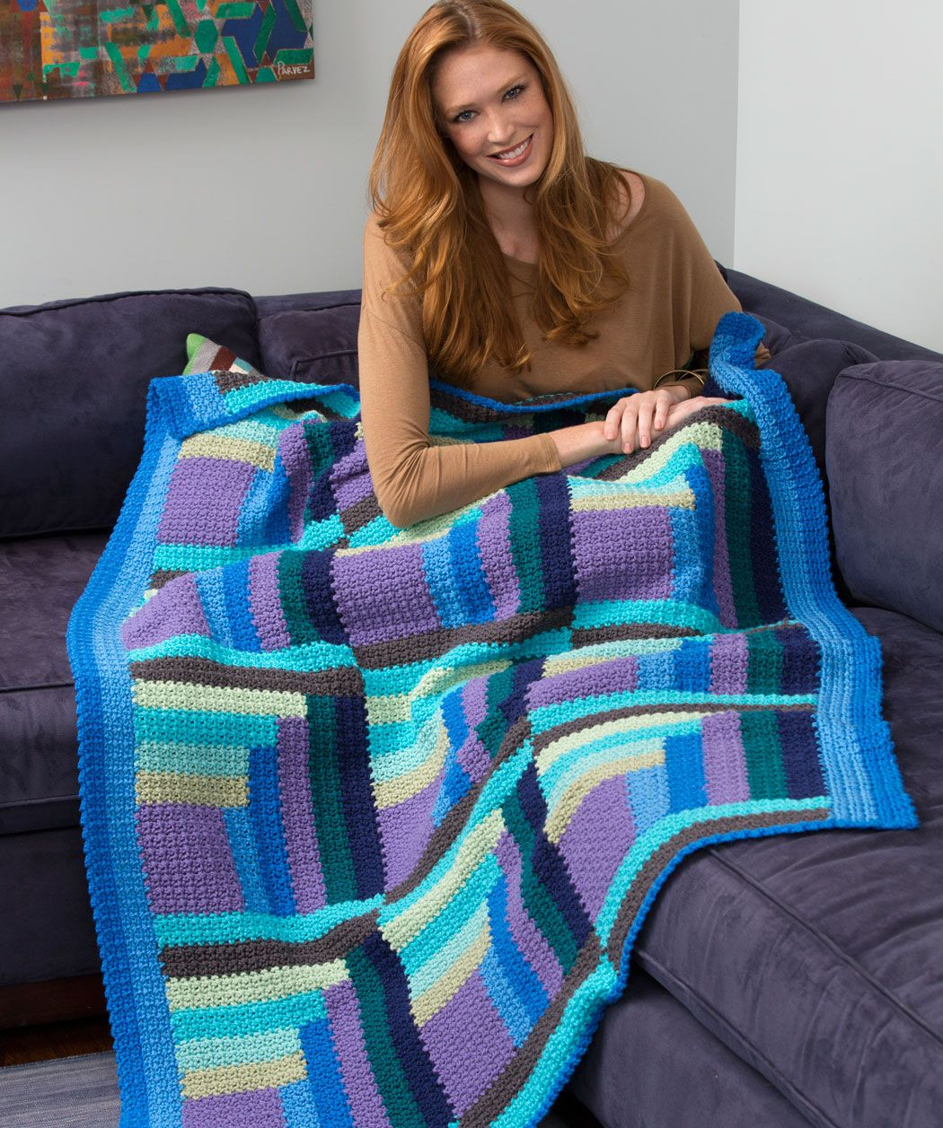 Mod Log Cabin Throw Free Crochet Pattern from Red Heart Yarn