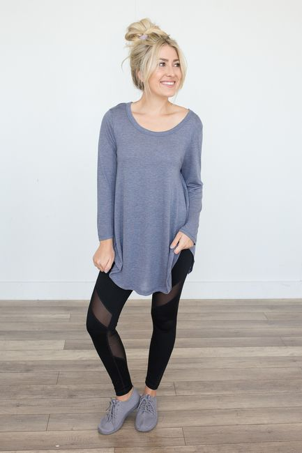 Shop our Game Changer Jersey Knit Tunic in Heather Blue