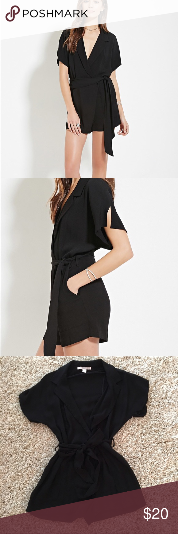 Surplice Black romper Size medium, worn once, washed once, hung to dry, no flaws. Forever 21 Dresses