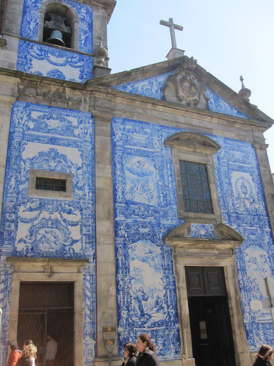 Blue And White Tile Front Church In Porto Portugal