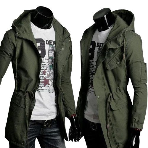Detalles acerca de Men's Casual Long Coat Parka Jacket Trench ...