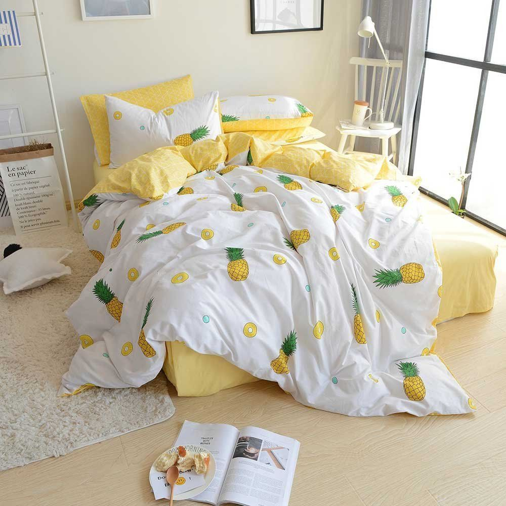 Fruits Pineapple Print Kids Duvet Cover Set Queen Cotton