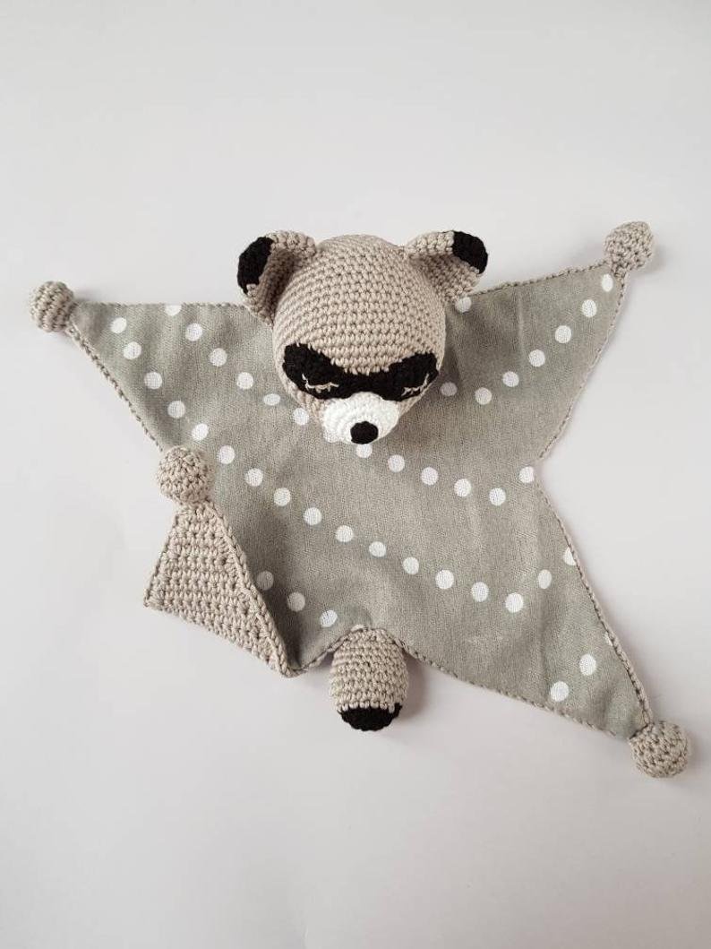 Crochet lovey bunny cotton baby security blanket lovey sleeping toy baby gift newborn shower gift raccoon toy #securityblankets