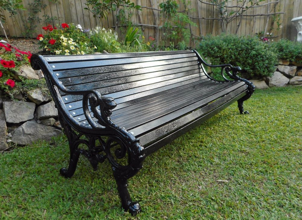 Incredible Black Cast Iron Park Garden Bench English 19Th Century Evergreenethics Interior Chair Design Evergreenethicsorg